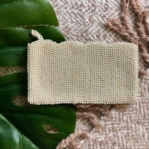 Vintage Scallop Edge Pearl Beaded Clutch Wallet